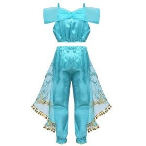 Image 2 - ילדים בנות נסיכת נצנץ פאייטים ריינסטון תלבושות תלבושת כבוי כתף יבול למעלה עם מכנסיים ליל כל הקדושים קוספליי המפלגה להתלבש