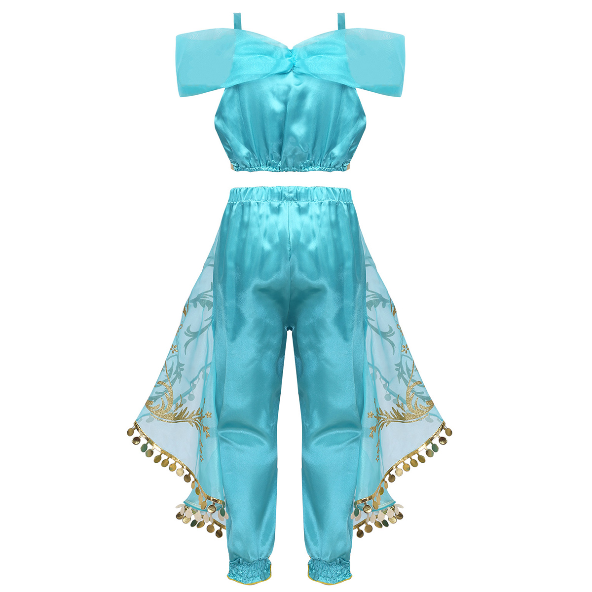 Image 2 - Kids Girls Princess Glittery Sequins Rhinestone Costume Outfit Off Shoulder Crop Top with Pants Halloween Cosplay Party Dress Up-in Girls Costumes from Novelty & Special Use