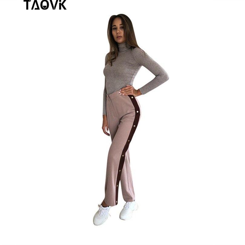 TAOVK Split   Wide  -  leg     Pants   Side Button Up Trousers Loose Casual   Pants     Wide     Leg   Track Suit   Pants
