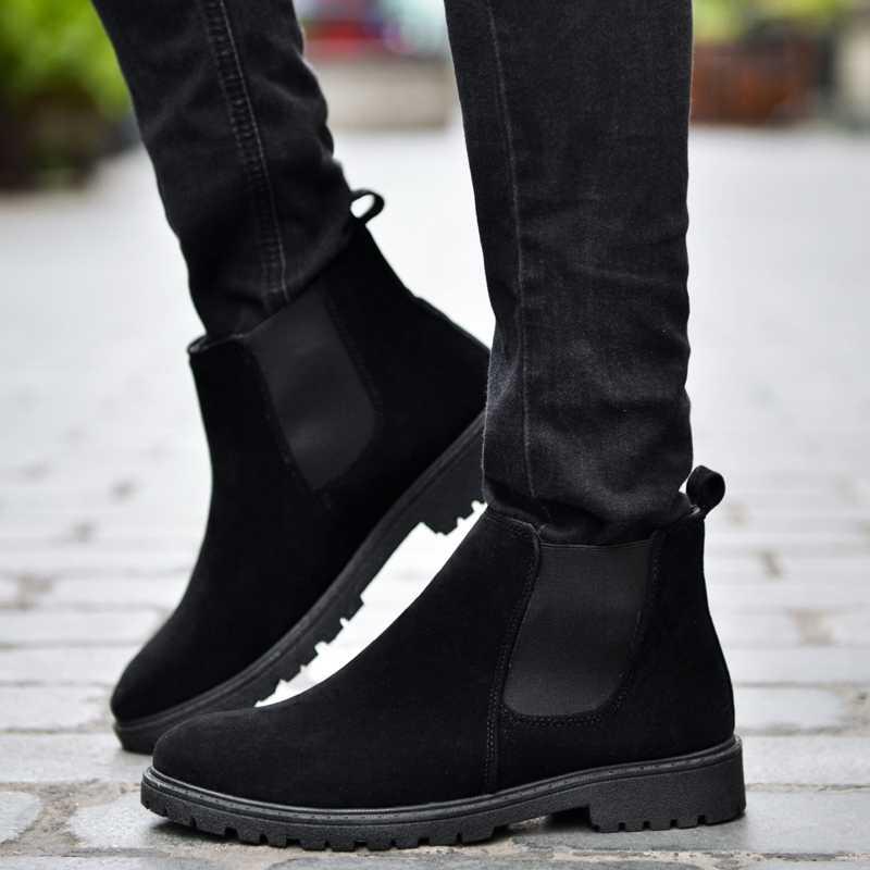 Chelsea Homens Botas de Camurça Ankle Boots de Couro Estilo Luxo Original Masculino Outono Inverno Alta Top Sapatos Casuais Botas Ocidentais