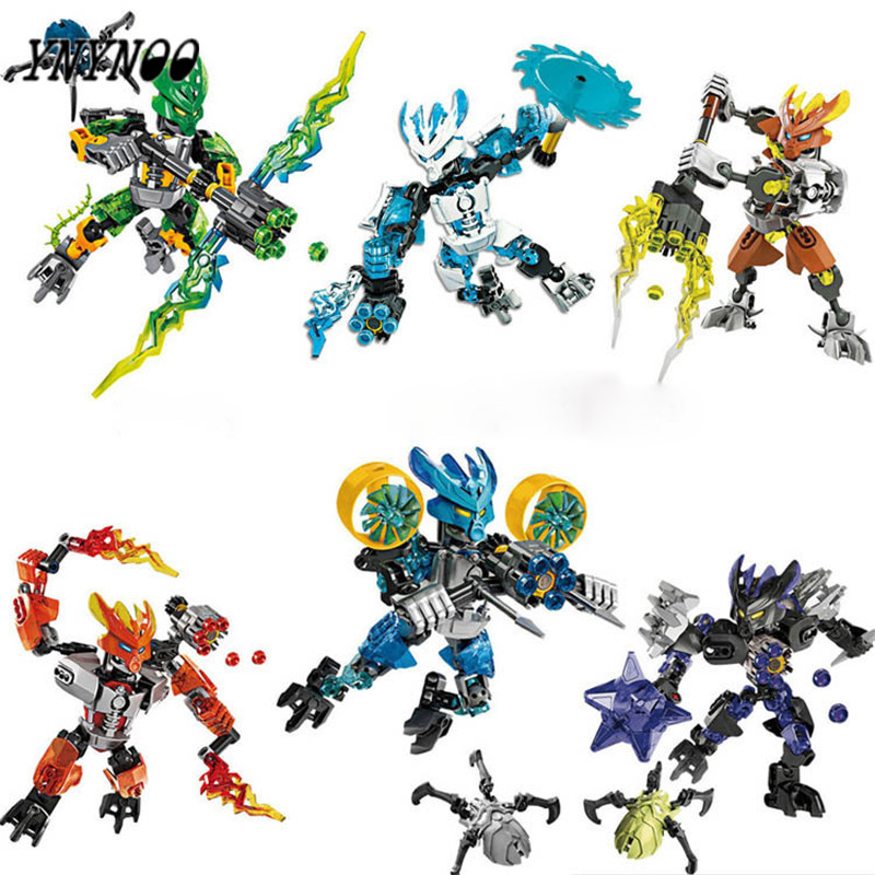 YNYNOO BIONICLE series XSZ 706 jungle Rock Water Earth Ice Fire protecto action figure Building Block BL020 цена