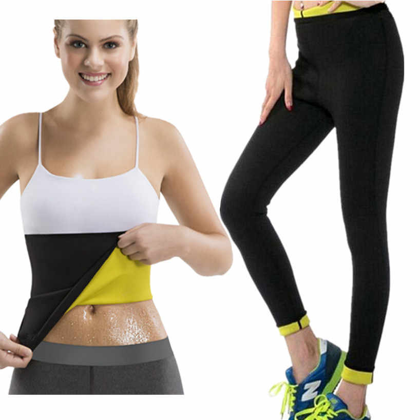 76bf53b71667d New Hot Thermal Sweat Neoprene Slimming Shaping Sauna Belts Yoga Sets Gym  Clothes Running Tights Women