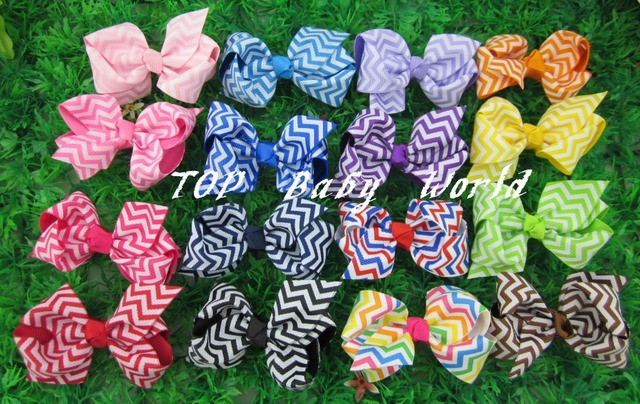 2013 New Design Chevron Printed Ribbon Hair Ribbon Bows Chevron Boutique Hair Bow With Clip Girls' Hair Accessories 50pcs/lot