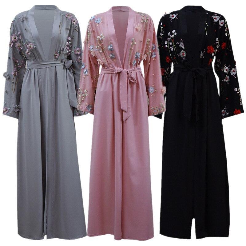 Grande taille dubaï arabe caftan Islam pour les femmes de dentelle Kimono musulman Hijab robe turque Elbise moubarak vêtements islamiques