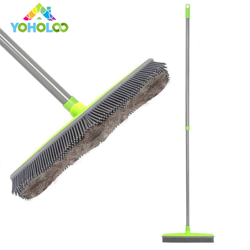 Long Push Rubber Broom Bristles Sweeper Squeegee Scratch Free Bristle Broom for Pet Cat Dog Hair Carpet Hardwood Windows Clean image