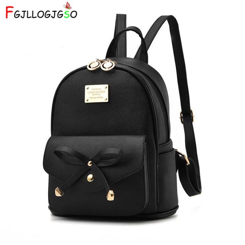 FGJLLOGJGSO Fashion Women Bag School Lady Backpack PU Leather small Student Shoulder Casual Female Backpacks Softback Bags SacBackpacks   -