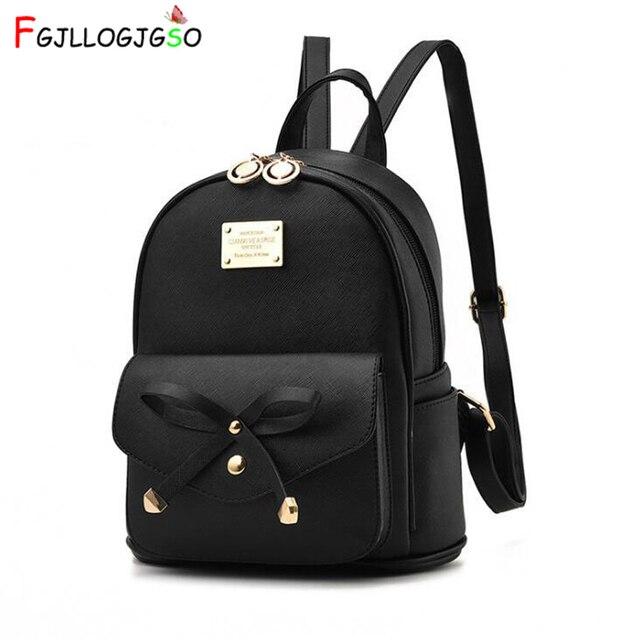FGJLLOGJGSO Fashion Women Bag School Lady Backpack PU Leather small Student Shoulder Casual Female Backpacks Softback Bags Sac