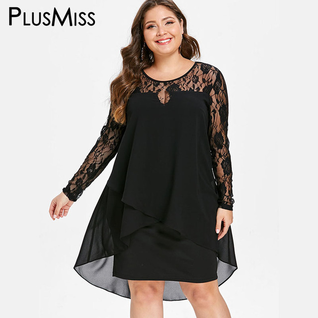 PlusMiss Plus Size 5XL Sexy Sheer Black Lace Crochet Dress Women Robe Femme  Chiffon Party Dresses b719a6a31cbf
