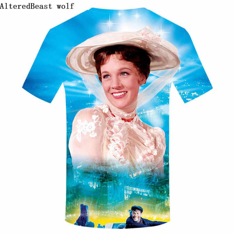 メアリーポピンズ男性 3d Tシャツおかしいノベルティストリート Tシャツメンズカジュアル tシャツファッション男は原宿男性服