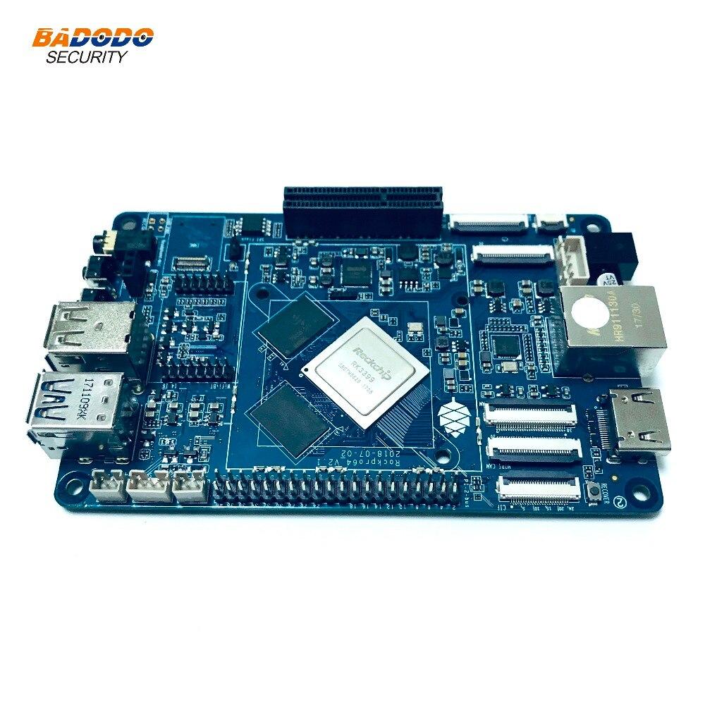 US $125 99 16% OFF ROCKPro64 PINE64 64 bit Quad Core+4GB LPDDR4 + eMMC slot  +android 7 1 Linux Debian Operating System development board demo board-in