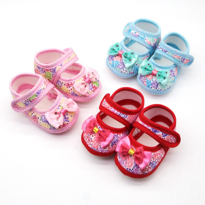 0-18M Baby Girl Breathable Anti-Slip Floral Bow Shoes Casual Sneakers Toddler Soft Bed Shoes
