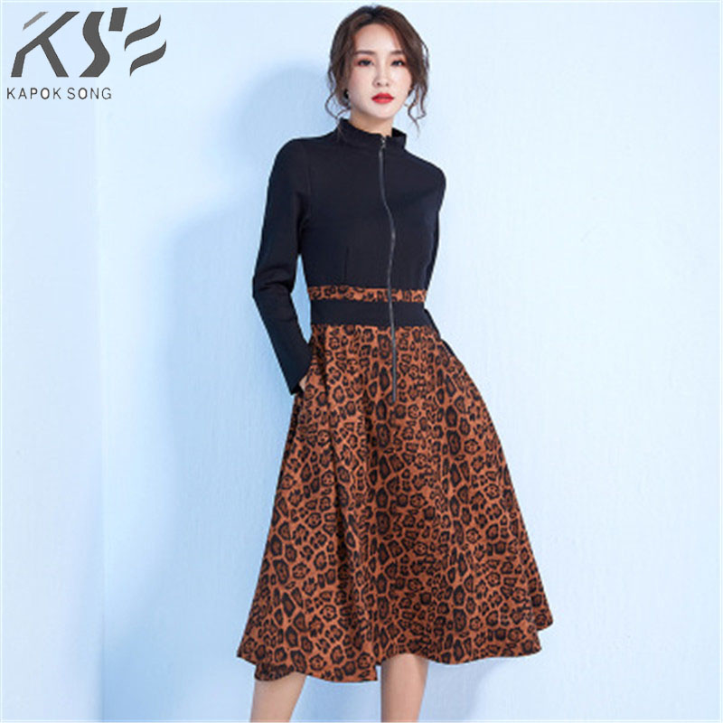2018 New Leopard pattern collision European and American style dress winter collar long microbomb swagger