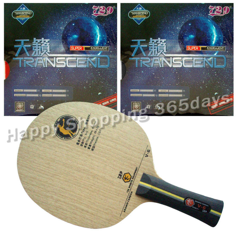 где купить Pro Table Tennis PingPong Combo Racket RITC729 V-6 Blade with 2x TRANSCEND CREAM Rubbers Shakehand long handle FL по лучшей цене
