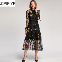 2017 Newest Fashion Mid Calf Dress Women S Elegant Long Sleeve Tulle Gauze Flower Floral Embroidery