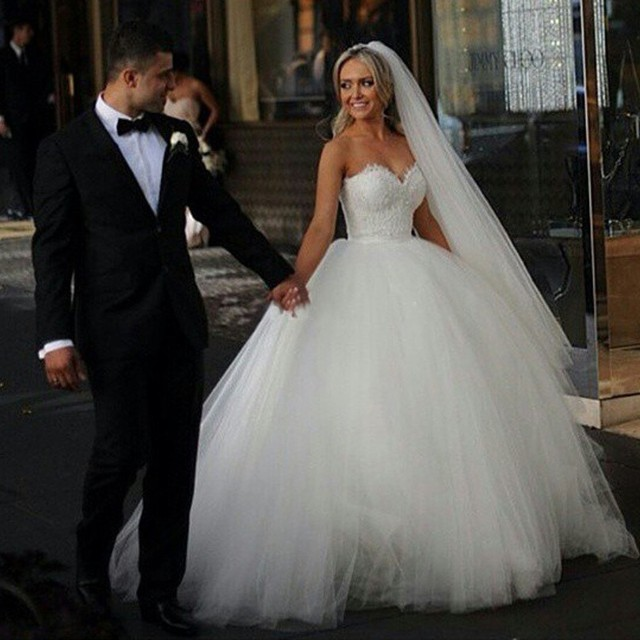 Princess White Lace Sweetheart Wedding Dress With Lace Ball Gown ...