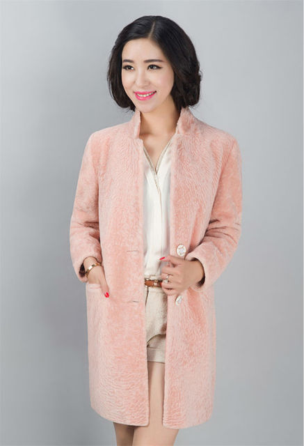 62975d9731 Winter Women Sheared Sheep Fur Coat Solid Color New Fashion Warm Outwear  with Pockets Casual Soft