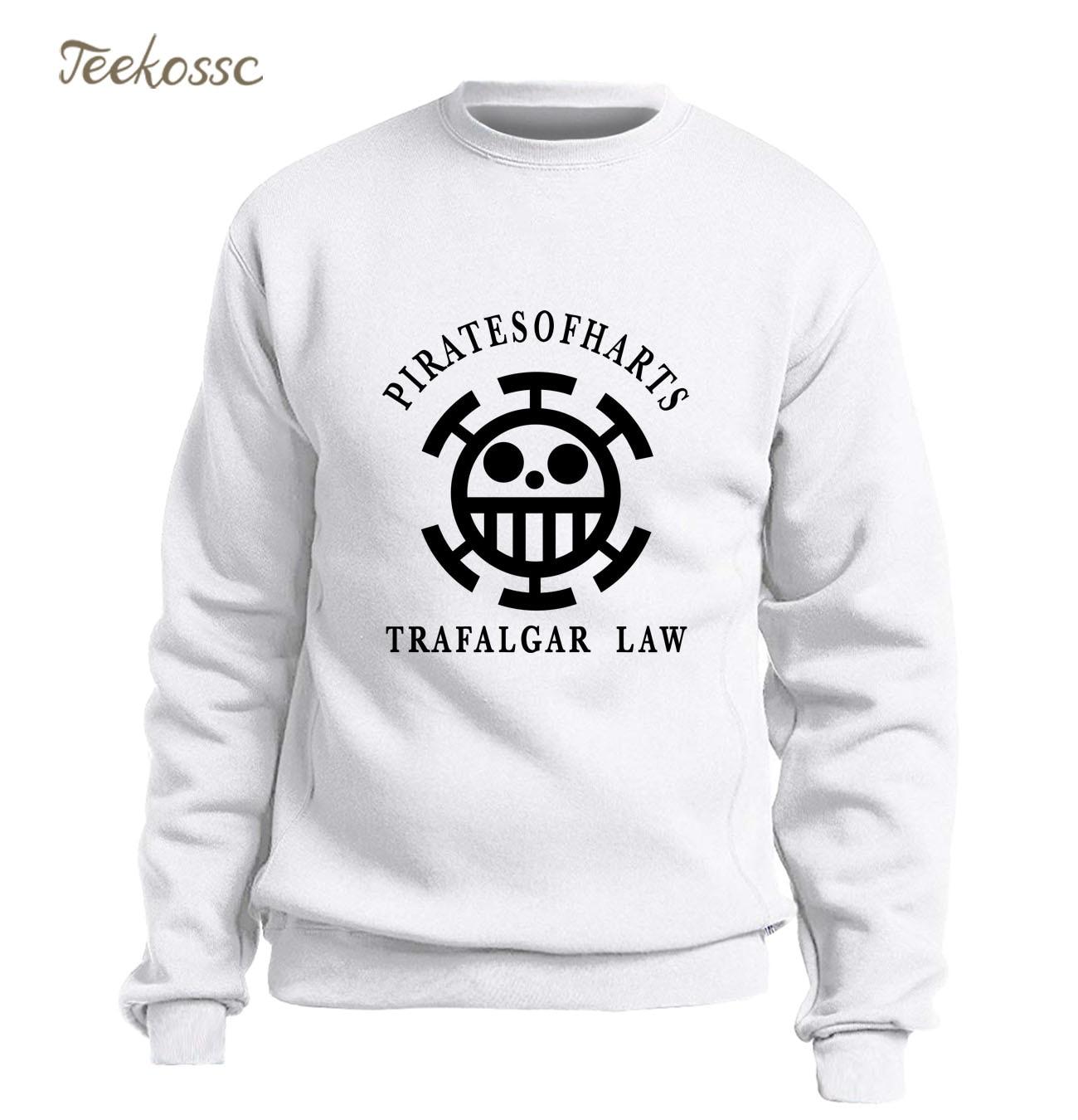 Anime One Piece Sweatshirt Men Trafalgar Law Hoodie Fleece Warm The Pirate King Luffy Crewneck Sweatshirts Mens White Streetwear