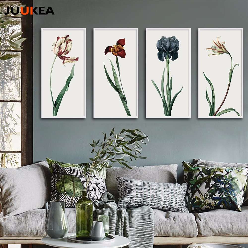 4 pieces canvas print painting pastoral vintage plants for Modern home decor pieces