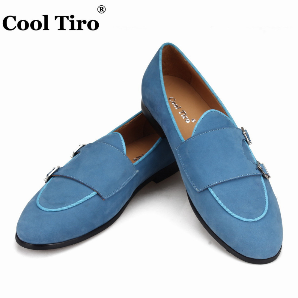 Cool Tiro Blue Suede Double Monk Belgian Loafers Men s Moccasins Smoking Slippers Casual Shoes Flats