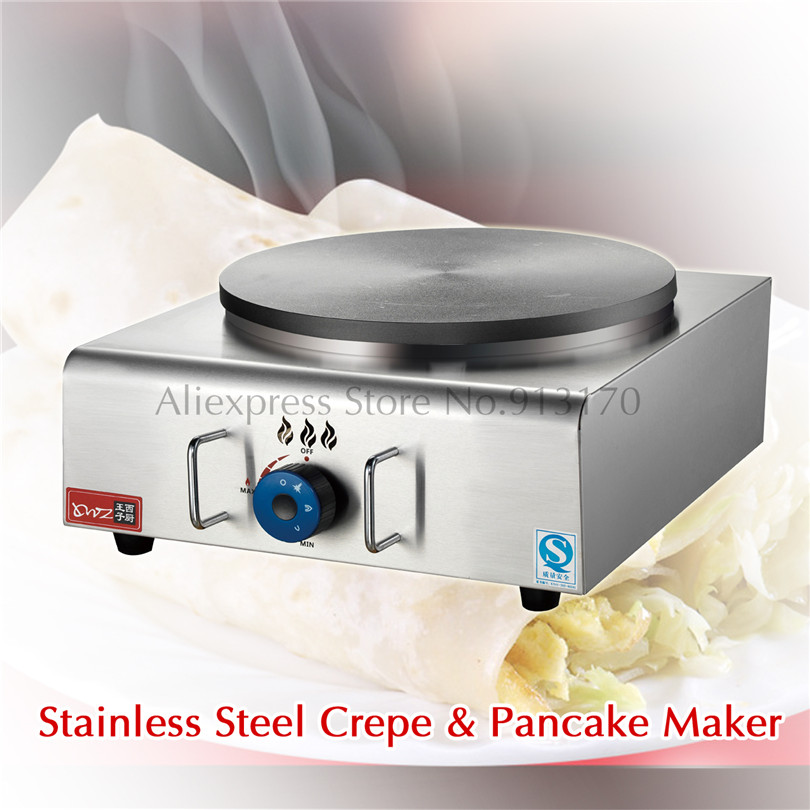 French Crepes Suzette Griddle Machine Non-stick Gas Pancake Grill Maker Stainless Steel LPG Heating