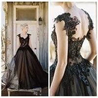 2019 Off Shoulder Lace Appliques A Line Wedding Dresses Black Gothic Formal Bridal Gowns Vintage Spring Garden Wedding Wear