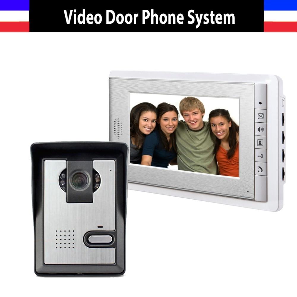 Hot Sale 7 inch video door phone intercom doorbell System vide doorphone interphone 1-Door Camera 1-Monitor for home hot sale extra door