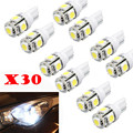 30pcs T10 5-SMD 5050 Xenon LED Light bulbs 192 168 194 W5W 2825 158 WH ja20