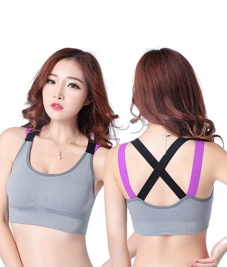07c5304df2 Fitness Yoga Push Up Sports Bra For Women Gym Running Padded Tank Top  Athletic Vest Underwear Shockproof Strappy Sport Bra Top