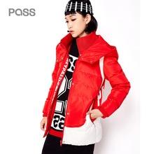 PASS 2017 Winter Women Down Jacket Fashion Red Letter Print Turn Down Collar Women Jackets Zipper Winter Down Coats