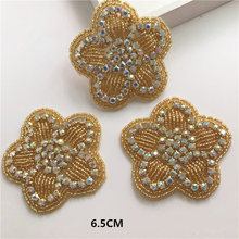 10pcs pack Handmade Beaded Rhinestone Applique Gold Sewing Dress Applique  for Bridal Belt Wedding Dress Headpieces 485a088b8238