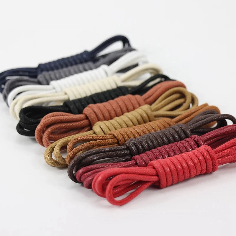 1Pair Leather Shoe Laces Waxed Cotton Round Shoe Laces Waterproof ShoeLaces Men Martin Boots Shoelace Shoestring