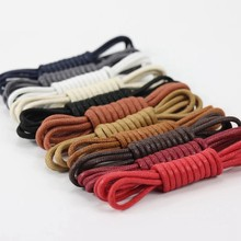 1Pair Leather Shoe laces Waxed Cotton Round Shoe laces Waterproof ShoeLaces Men Martin Boots Shoelace Shoestring(China)