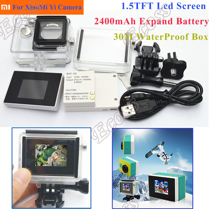 3 In1 XiaoMi Yi Lcd display Screen Extend Battery Xiaomi Yi Case Waterproof Housing Box Adapter