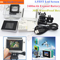 3 in1 xiaomi yi lcd screen display + 2400ma bateria + xiaomi yi caso caixa à prova d' água + adaptador para câmera de ação accessores conjunto