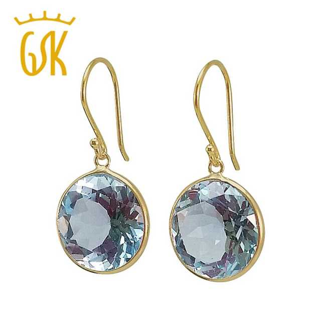 GemStoneKing Real 14K Yellow Gold Luxury Jewelry 14.00 Ct Cut Blue Natural Topaz Round Drop Earrings For Women