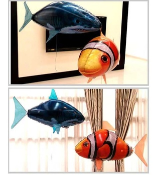 Remote Control Flying Shark Toy Clown Nemo Fish Balloons Inflatable Helium RC Air Plane Drone UFO With Light Best Christmas Gift
