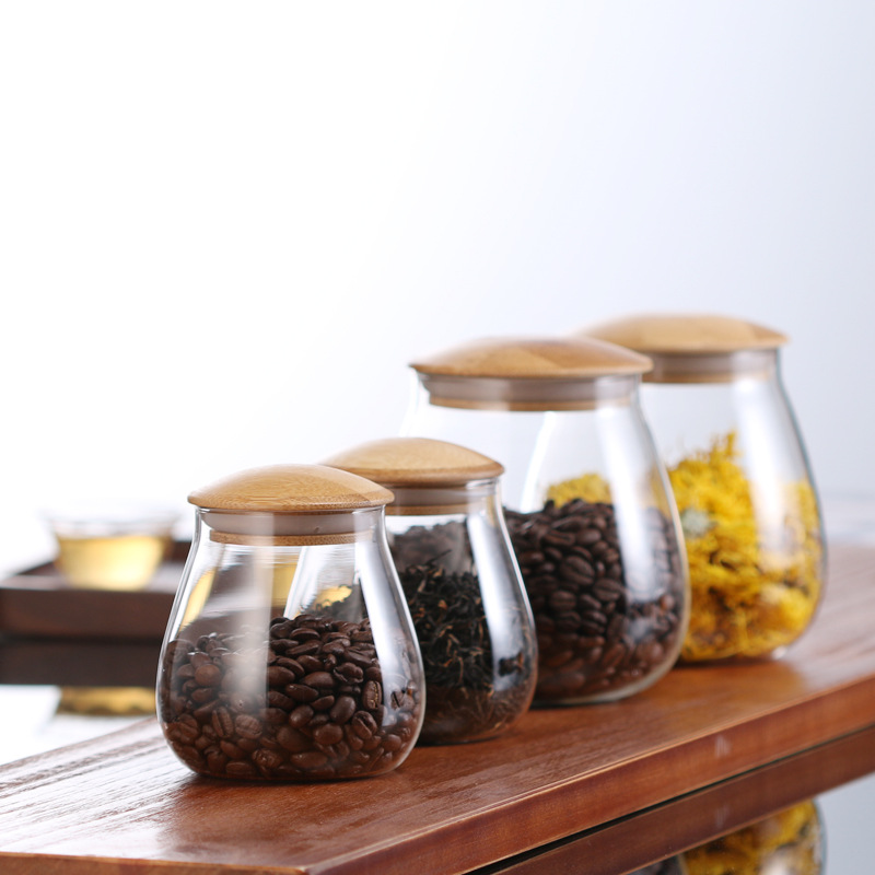400ml/800ml Coffee Jar Tea Jar Sugar Jar Candy Jar Storage Kitchen Cereal Container Glass Containers for Food image