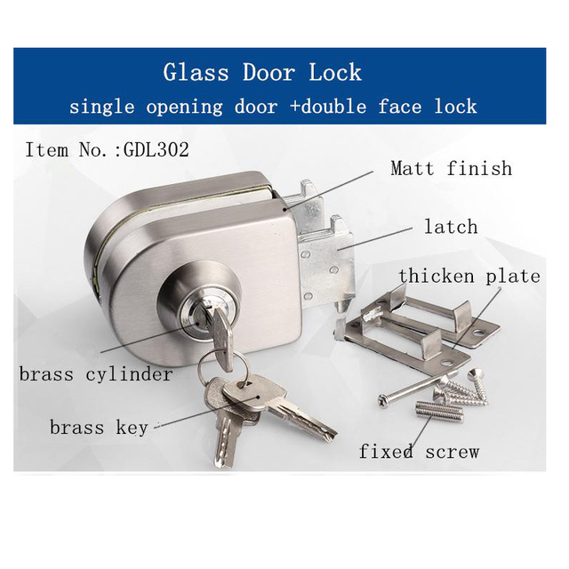 10 12mm Thickness Glass Door Lock Suit For Single Opening Double Face