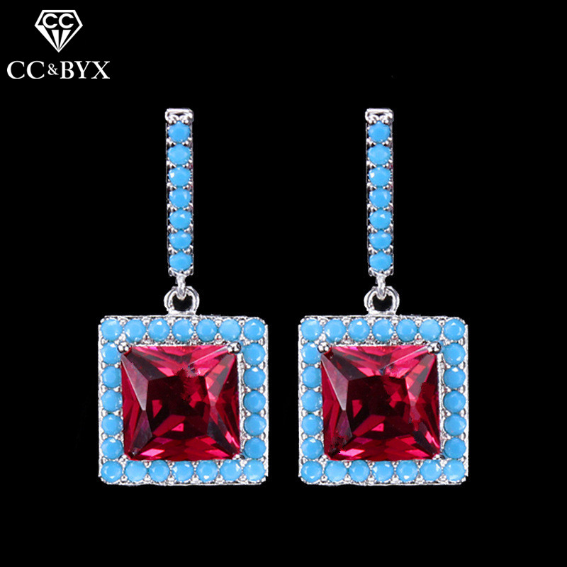 CC earrings for women luxury pageant square shape shine special design cz wedding accessories bridal engagement jewelry E0178