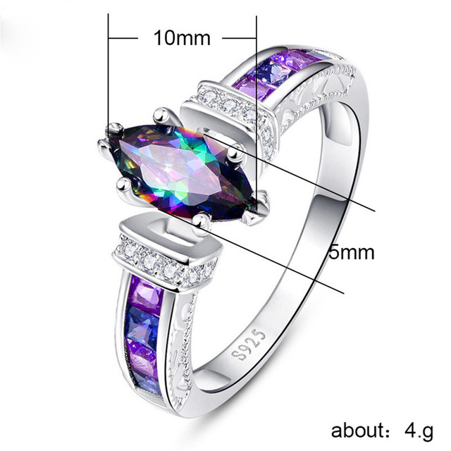 Marquise Shape Purple 925 Silver Ring 5