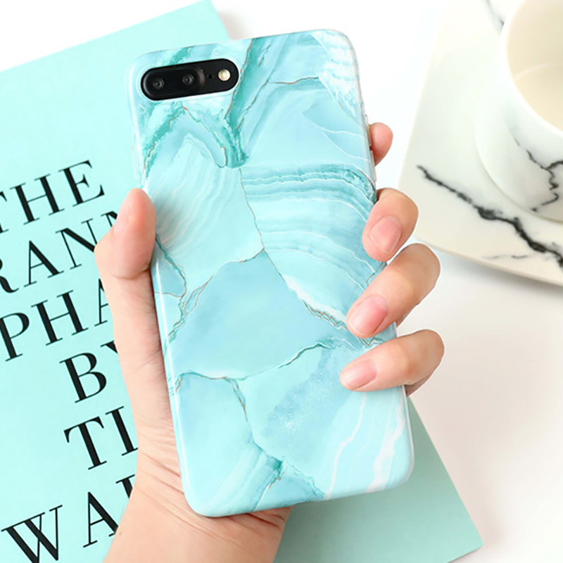 Galleria fotografica LOVECOM For iphone 6 6S 7 Plus 8 Plus Fashion ins Painting Graffiti Light Green Marble Mobile Phone cases Soft IMD Back Cover