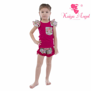 Kaiya Angel Rose Red Cotton Pink Peony with Pocket Outfit 2018 Kids Tracksuit Girls Spring Summer Autumn Clothes Set Wholesale