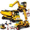 Sluban B9700 heavy engineering excavator forklift crane Construction Plastic Model Building Blocks Bricks Compatible With Legoe