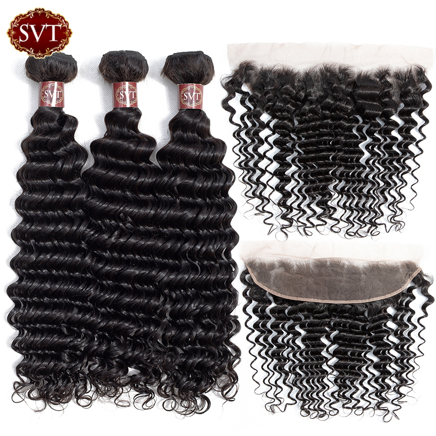 SVT Hair Deep Wave Bundles With Frontal Brazilian Hair Weave Bundles With Frontal Non Remy Human