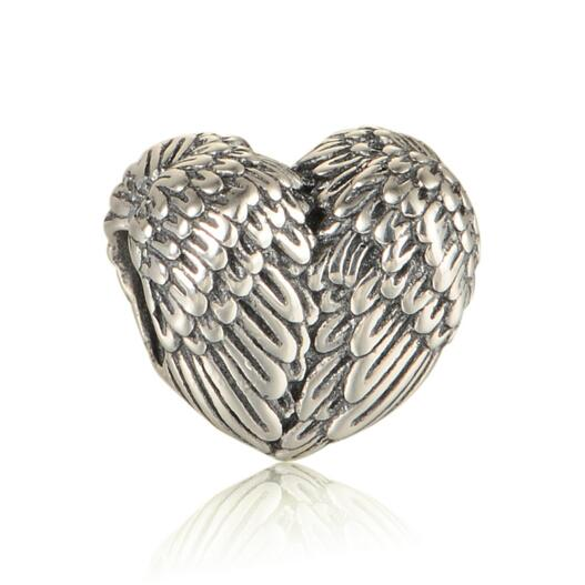 New Angelic Feathers Heart Charms Vintage Angel Wing Charm