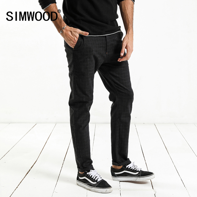 SIMWOOD 2018 Spring New Check Plaid Pants Men Smart Casual Slim Fit Trousers High Quality Plus Size Brand Clothing XC017052 2017jeans men new arrival brand clothing blue slim fit casual stretch denim pants high quality plus size free shipping