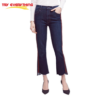 Try Everything Bell Bottom Jeans Mid Waist Slim Pencil Ankle Length Pants Jeans Women 2017 Flare