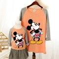 2016 la familia del otoño ropa causales camisetas para niños de las mujeres más el tamaño de dibujos animados mickey camiseta a juego de madre e hija ropa
