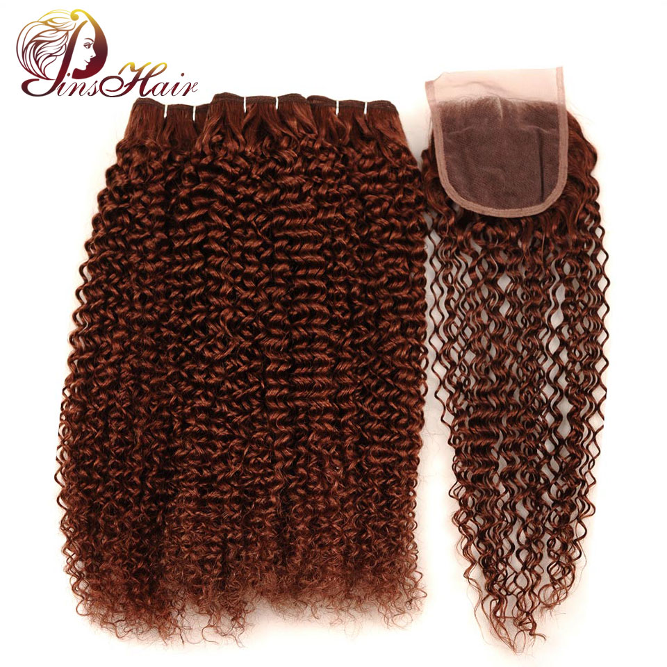 Pinshair Brazilian Hair Jerry Curly 3 Bundles With Closure #33 Light Brown Color 100% Human Hair Bundles With Closure Non Remy-in 3/4 Bundles with Closure from Hair Extensions & Wigs    1