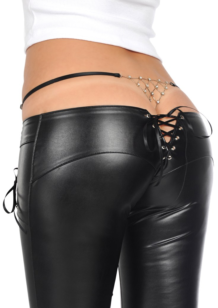 Sexy Latex Pencil Pants Faux Leather Pants Low Waist Bandage Zipper Crotch Detail Slim Fashion Club Dance wear Black White